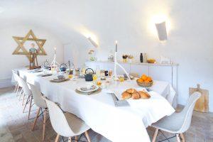 Au Château d'Uzer, chambre d'Hôtes de charme, le petit-déjeuner
